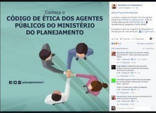 Postagem do Ministério do Planejamento. Foto: Reprodução de Internet